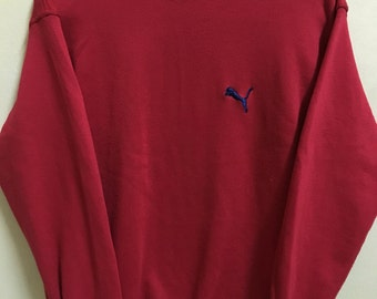 Vintage 90's Puma Red Sport Classic Design Skate Sweat Shirt Sweater Varsity Jacket Size L #A262