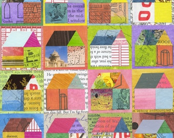 Home collage print, wall art, home decor, house, colorful, housewarming gift, paper quilt, to benefit Syrian Refugees