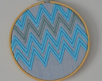 Embroidered Zigzags Turquiose