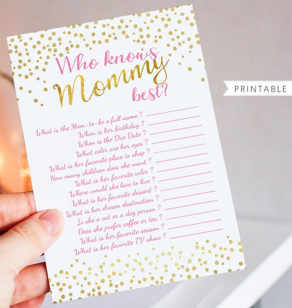 Pink and Gold Baby Shower Game Printable - Who Knows Mom Best - Printable Baby Shower Game