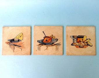 Three decorative wall tiles / vintage / kitchen /