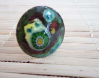 Ring in enamel on copper - spring
