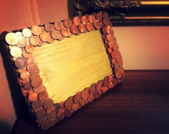 photo frame wood metal coins style hand made warm
