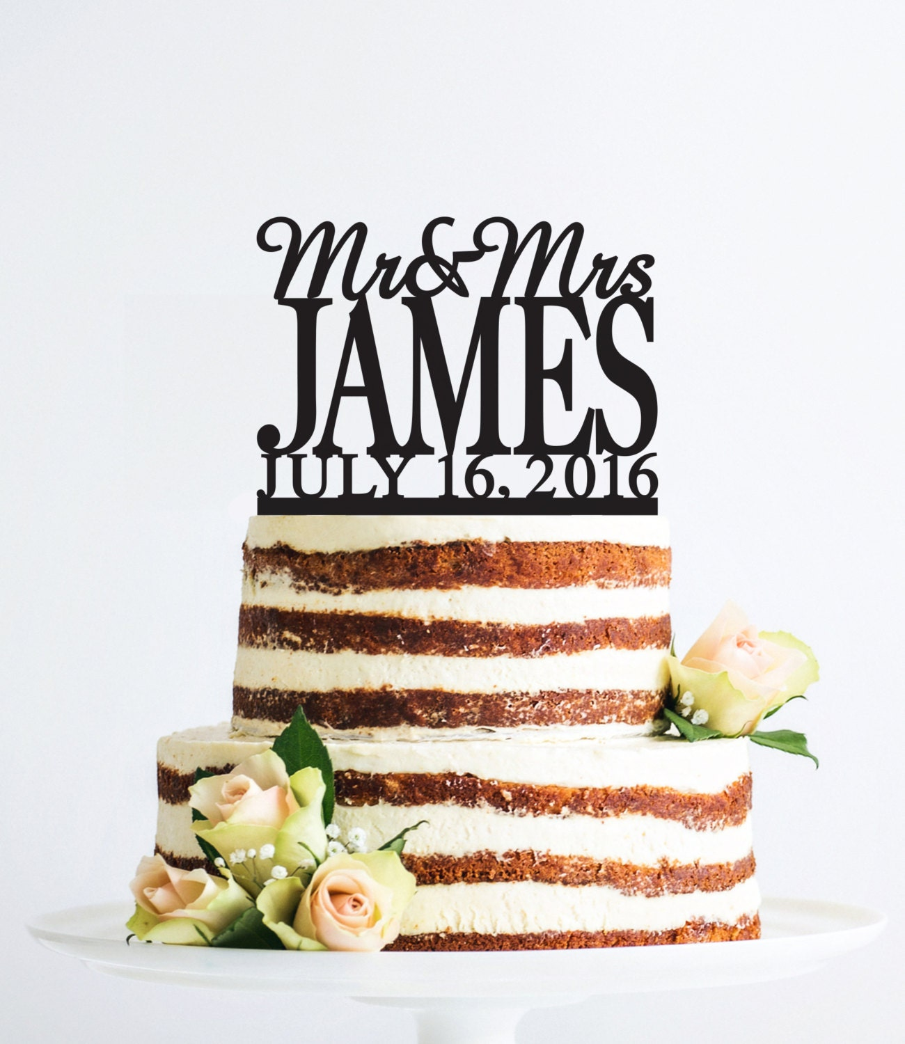 Mr and Mrs Cake Topper with Date, Personalized Last Name Wedding ...