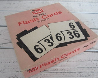 Vintage Ideal Division Flashcards Complete Box Math Flash Cards