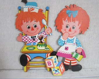 Vintage Raggedy Ann And Andy Wall Hanging Chipboard Nursery Decor Ragdoll
