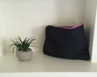 Denim Makeup Bag (Pink Zipper)