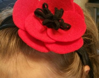 Red poppy headband