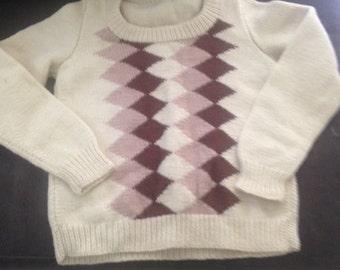 Hand knit Argyle sweater