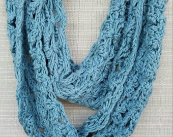 Soft crocheted infinity scarf