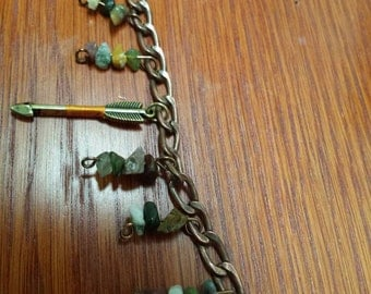 Boho bracelet w/arrow antique copper chain with charms stacked gemstone chips Chakra