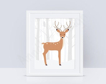 PRINTABLE Deer nursery wall art, Deer nursery art, Woodland nursery wall art, Woodland animals print, Baby art prints,