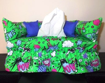 Comic Book  Couch Tissue Box Cover