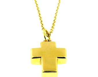 18 Kt Yellow Gold  3D Cross Necklace Pendant
