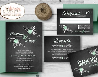 Chalkboard Invite, Chalkboard Wedding Invitation Set, floral wedding invitation, Printable wedding, Mint wedding, Chalkboard Wedding