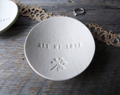 ALL MY LOVE Porcelain Ring Dish (dragonfly), ceramic stamp white bowl, white clay word ring holder, pottery ring dish by La Clay Maison