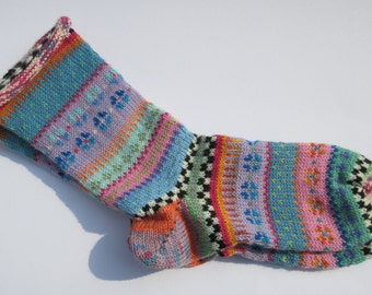 Colorful fair Isle socks Adolana Gr. 39 / 40