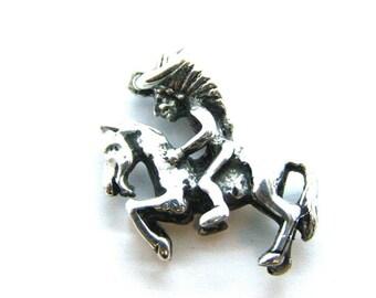 Riding Apache Pendant Charm .925 Sterling Silver