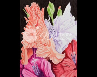 Glorious Glads: 9x12 print of an original watercolor painting