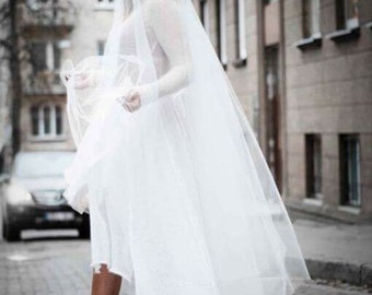 White knitted wedding dress