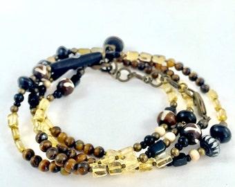 Mens Bracelet or Necklace- Citrine, Tigers Eye and Bronze