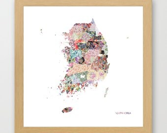 SOUTH KOREA MAP, flowers composition, roses, Giclee Fine Art, Poster Print