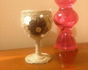 Twine wrapped wine glass