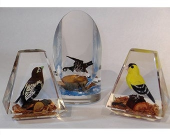 Vintage Acrylic Hardwood Carved Birds as Paper Weights