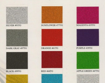 "13 -- 12"" x 12"" Sheets one of each color of Outdoor Transparent Glitter"