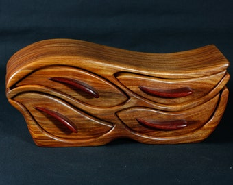 Exotic Canary Wood and Padauk Sculpted Sculpted Bandsaw Jewelry Box (Cetacean Migration)