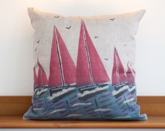 Linen Cushion Cover - Red Sails, 100% Linen, Sea, Seascape, Sailing, Boat, home decor, cream, linen, pillow, rustic, natural, nautical