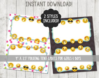 Printable Emoji Food Tent Labels Emoji Food Labels Emoji Party Emoji Tent Cards Emoji Birthday Emoji Party Printable Folding Label Cards