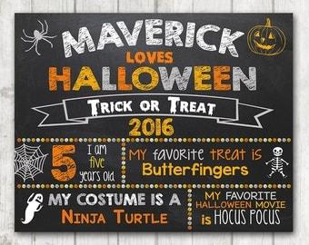 Custom Halloween Sign, Chalkboard Halloween Sign, Printable Halloween Photo Prop Sign, 2016 Halloween Chalkboard Sign for Kids, Children