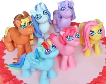 My Little Pony fondant cake topper. Set of six edible My Little Pony figurines.
