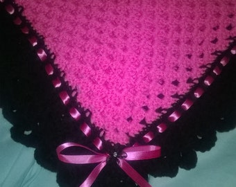 Pink and Black Baby Blanket and Hat