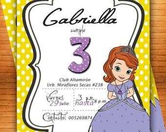 Sofia The First Invitation -Princess Sophia Invite - Disney Sofia The First Party Invites - Birthday Party -CUSTOMIZABLE-