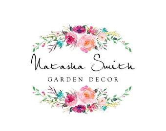 Premade Logo Design, Calligraphy Logo, Watercolor Floral Logo, Modern Logo, Custom Business Card Branding, Wedding Signs PL45