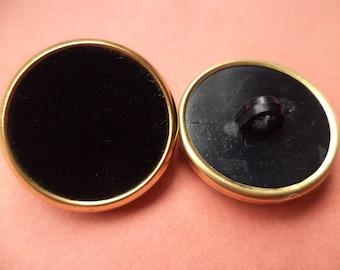 10 black buttons 19mm (3292) knob gold
