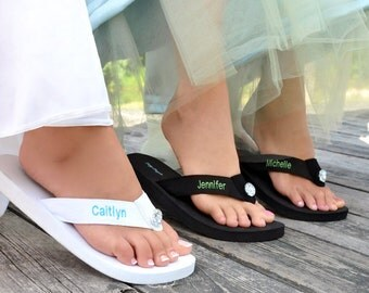 Personalized Flip Flops Black or White