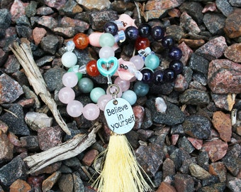Self Love and Self Care Rose Quartz Pagan and Heathen Prayer Beads