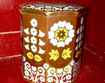 Vintage 70's floral storage bin, tin, box, collectible, flower pattern, bright colours, with lid