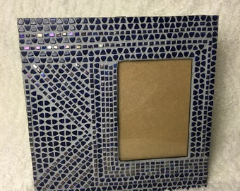 Mosaic Picture Frame, Purple and Blue, Handmade with Glass Beads