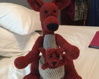 Crochet Amigurimi hand made stuffed Kangaroo