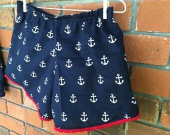 Women's anchor coachella style shorts elastic waist