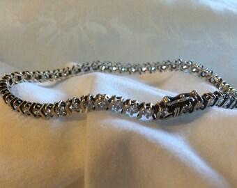 Tennis Bracelet, Stunning and Elegant Rhinestone; OVO Sterling