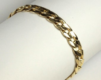 """Men's  Bracelet 9"""" 14K Hand Made Solid Yellow Gold Curb Link"""