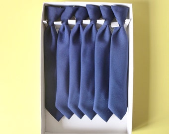 Goodwood Ready! - New Old Stock - Retro 70's Kid's Navy Blue School Ties with elastic