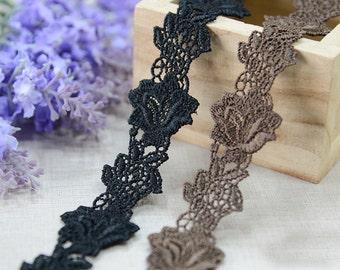 "10 yard 5cm 1.06"" wide black/coffee embroidery lace trim trims ribbon L22K204 free ship"