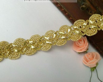 """10 yard 2cm 0.78"""" gold/silver tapes braided lace trim ribbon uty7584 free ship"""