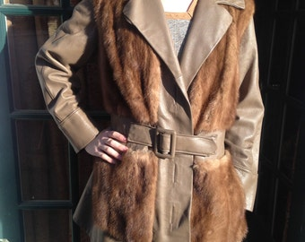 1960s Brown Leather and Fur Coat